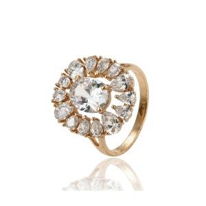 Liels grezns gredzens ar baltiem mirdzošiem cirkoniem, 18 karātu zelta pārklājums