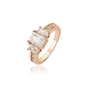 Smalks oriģinals gredzens ar baltiem cirkoniem, rozā zelta pārklājums
