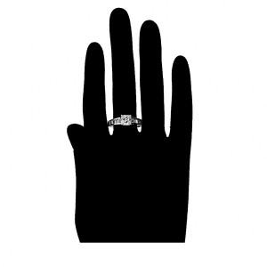 Grezns gredzens ar baltiem cirkoniem, rodija pārklājums