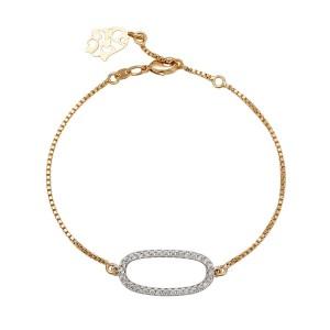 Eleganta rokassprādze фк 18k zelta pārklājumu un cirkoniem- 19-21 cm