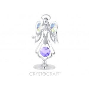 Eņģelis ar SWAROVSKI kristāliem, uz pamatnes, hroma pārklājums.
