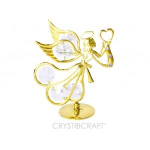 Eņģelis ar sirdi rokās, ar SWAROVSKI kristāliem . Izmērs 8 x 9 cm.