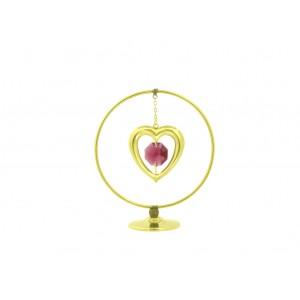 Sirds iekārta ķēdītē aplī, ar SWAROVSKI kristālu, uz pamatnes, zelta pārklājums. Izmērs 5 x 7 cm.