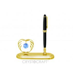 Pildspalvas turētājs ar automašīnu, ar SWAROVSKI kristāliem, zelta pārklājums. Izmērs 8 x 5 x 6,5 cm