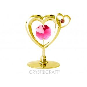 Divas sirdis ar SWAROVSKI kristāliem, uz pamatnes, zelta pārklājums.