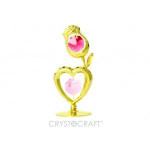 Sirds un roze, ar SWAROVSKI kristāliem, uz pamatnes, zelta pārklājums (1).