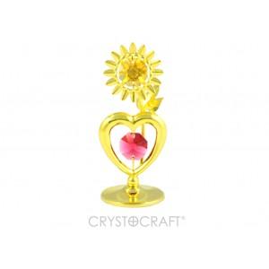 Sirds ar ziediņu, ar SWAROVSKI kristāliem, uz pamatnes, zelta pārklājums. Izmērs 4 х 8 cm.