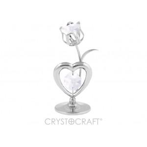 Sirds ar tulpi, ar SWAROVSKI kristāliem, uz pamatnes, sudraba pārklājums. Izmērs 4 х 8 cm.