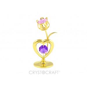 Sirds ar tulpi, ar SWAROVSKI kristāliem, uz pamatnes, zelta pārklājums. Izmērs 4 x 8 cm.