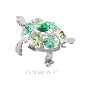 Bruņurupucis ar smaragdzaļiem SWAROVSKI kristāliem, hroma pārklājums. Izmērs 6 x 4,5 x 4 cm.