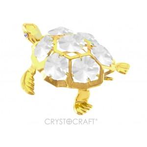Bruņurupucis ar baltiem SWAROVSKI kristāliem, zelta pārklājums. Izmērs 7*5,5*3 cm.