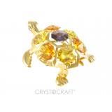 Bruņurupucis ar dzelteniem SWAROVSKI kristāliem, zelta pārklājums. Izmērs 6 x 4,5 x 4 cm.Pieejams arī ar dzidriem bezkrāsu kristāliem (GCL)- cena Ls 8.90