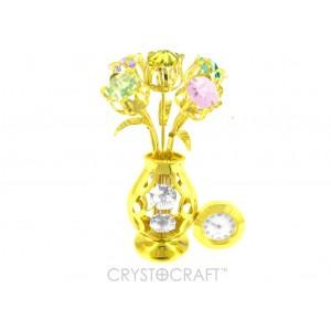 Puķu vāzīte ar pieciem tulpem ar pulksteni, ar SWAROVSKI kristāliem, zelta pārklājums. Izmērs 6 x 6 x 11 cm.
