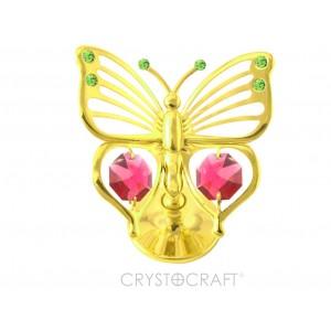 Taurenis, ar SWAROVSKI kristāliem, uz pamatnes, zelta pārklājums. Piejams ar sarkaniem kristāliem
