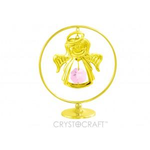 Eņģelītis iekārts ķēdītē aplī, ar rozā SWAROVSKI kristāliem, uz pamatnes, zelta pārklājums.