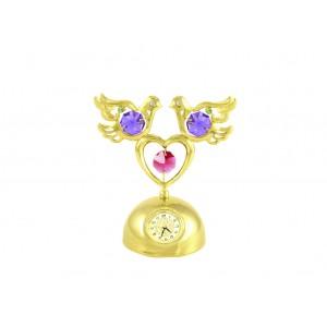 Balodīši ar sirdi uz pamatnes ar pulksteni , ar SWAROVSKI kristāliem, zelta pārklājums. Izmērs 8 x 5 x 9 cm.