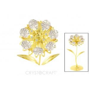 Zieds ar dzidriem SWAROVSKI kristāliem, uz pamatnes, zelta pārklājums. Izmērs 6x6x13 cm.