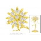 Saulespuķe ar SWAROVSKI kristāliem, uz pamatnes, zelta pārklājums. Izmērs 9x9x18 cm.