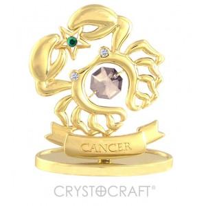 Zodiaka zīme VĒZIS ar SWAROVSKI kristāliem, zelta pārklājums. Dāvanu iepakojumā. Izmērs 7*6*3 cm.