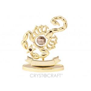 Zodiaka zīme SKORPIONS ar SWAROVSKI kristāliem, zelta pārklājums. Dāvanu iepakojumā. Izmērs 7*6*3 cm.