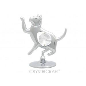 Kaķis uz pamatnes, ar SWAROVSKI kristāliem, sudraba pārklājums. Dāvanu kastītē. Izmērs 5 x 5 cm.
