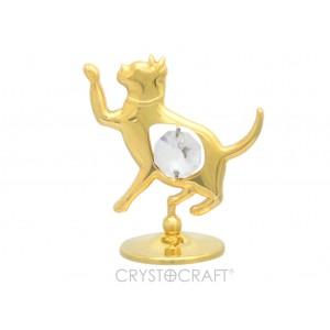 Kaķēns ar SWAROVSKI kristālu, uz pamatnes, zelta pārklājums. Dāvanu iepakojumā. Izmērs 5 x 5 cm.