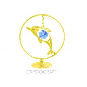 Delfīns iekārts ķēdītē aplī, ar SWAROVSKI kristāliem, uz pamatnes, zelta vai sudraba pārklājums. Izmērs 5 x 7 cm