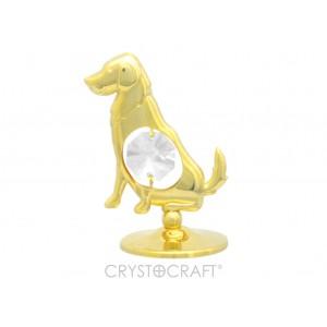 Apzeltīts Suns ar SWAROVSKI kristāliem, uz pamatnes, zelta pārklājums. Dāvanu iepakojumā. Izmērs 4 х 5 cm.
