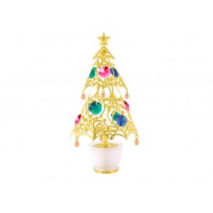 Ziemassvētku eglīte podiņā, ar krāsainiem SWAROVSKI kristāliem, zelta pārklājums. Izmērs 8*8*17 cm