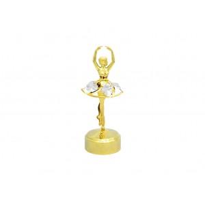 Balerīna uz muzikālās pamatnes, ar SWAROVSKI kristāliem,  zelta pārklājums. Izmērs 5,5 х 14,5 cm.