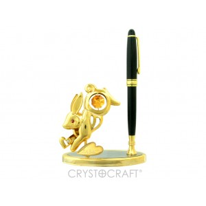 Pildspalvas turētājs ar zaķi, ar SWAROVSKI kristāliem, zelta pārklājums.