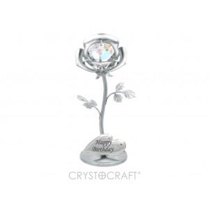 Mini Roze ar AB SWAROVSKI kristālu (hameleons), hroma pārklājums. Izmērs 3x3x8 cm. Dažādi uzraksti.