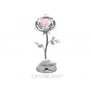 Mini Roze ar rozā SWAROVSKI kristālu, uz pamatnes, hroma pārklājums. Izmērs 3x3x8 cm.