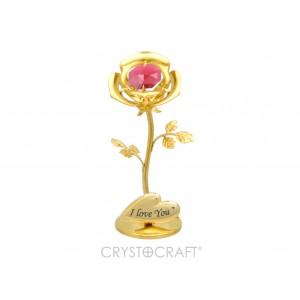 Mini roze ar sarkanu Swarovski kristālu, zelta pārklājums. Izmērs 8x3x3 cm.  Dažādi uzraksti.