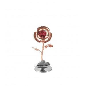 Mini Roze ar sarkanu SWAROVSKI kristālu, rozā zelta un hroma pārklājums, Izmērs 3x3x8 cm. Dažādi uzraksti.