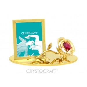 Fotorāmītis ar rozi, ar sarkanu  SWAROVSKI kristālu, uz pamatnes, zelta pārklājums.