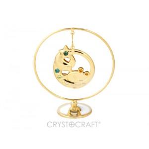Zodiaka zīme VĒZIS iekārts ķedītē aplī ar SWAROVSKI kristāliem, uz pamatnes, zelta pārklājums, izmērs 7,1 x 8 cm.