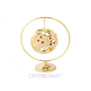 Zodiaka zīme LAUVA iekārts ķedītē aplī ar SWAROVSKI kristāliem, uz pamatnes, zelta pārklājums, izmērs 7,1 x 8 cm.