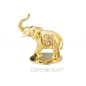 Zilonis ar baltiem  SWAROVSKI kristāliem, zelta pārklājums. Izmērs 10*9*7 cm.