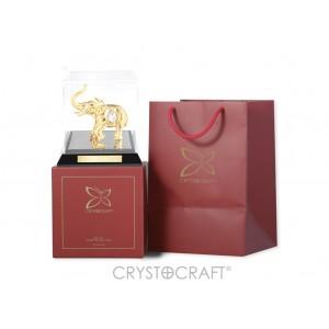 """Zilonis caurspīdīgā kastītē no organiska stiklā ar SWAROVSKI kristāliem, zelta pārklājums. Izmērs 12.5*12.5*12.5 cm. Ar uzrakstu """"Elephant"""""""