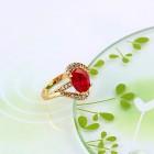 Apzeltīts gredzens  ar baltu cirkonu , 9. izmērs