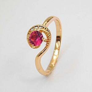 Oriģināls smalks gredzens ar cirkoniem, zelta pārklājums 18 karāti
