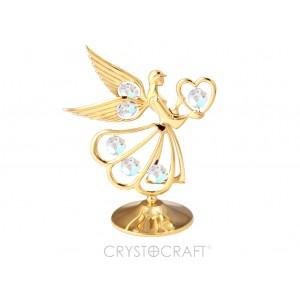Enģelis ar sirdi rokās, ar SWAROVSKI kristāliem, uz pamatnes, zelta pārklājums.