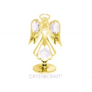 Eņģelis ar SWAROVSKI Elements kristāliem, uz pamatnes, zelta pārklājums.