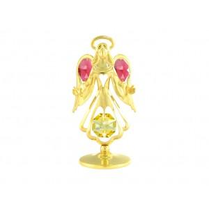 Eņģelis ar krāsainiem Swarovski kristāliem, zelta pārklājums, izmērs - 7,5 * 4,5 см