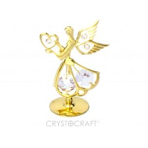 Eņģelis ar sirdi rokās, ar SWAROVSKI kristāliem. Zelta pārklājums. Izmērs 5,5 x 8 cm.