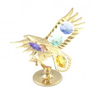 Ērglis ar gaišiem krāsainiem SWAROVSKI kristāliem, uz pamatnes