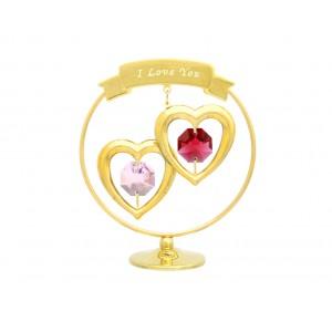 """Divas sirdis aplī ar krāsainiem  SWAROVSKI kristāliem un uzrakstu  """"I LOVE YOU"""", izmērs - 5*7 cm"""