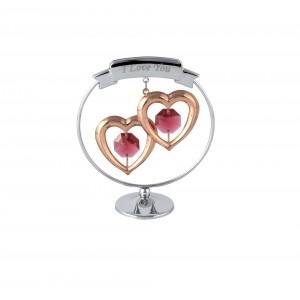 """Divas sirdis aplī ar sarkaniem SWAROVSKI kristāliem un uzrakstu """"I LOVE YOU"""", hroma un rozā zelta pārklājums. Izmērs - 5*7 cm"""