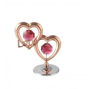 """Divas sirdis ar SWAROVSKI kristāliem, roza zelta un hroma pārklājums un uzrakstu """"LOVE"""""""